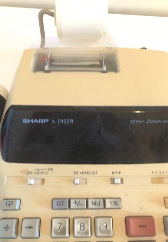 Sharp el-219R Printer calculator 12 digit Comes with extra paper