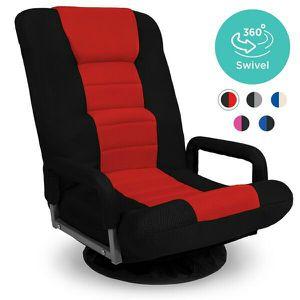 360-Degree Swivel Gaming Floor Chair w/ Armrest Handles, Foldable Adjustable Backrest - Red/Black for Sale in Columbus, OH