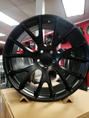 "22"" 22x9.5 Wheels Hell Cat 5x127 +34 71.6cb Jeep Cherokee Dodge Durango Replica Matte Black Tires Available FINANCING Available. for Sale in Bellflower, CA"