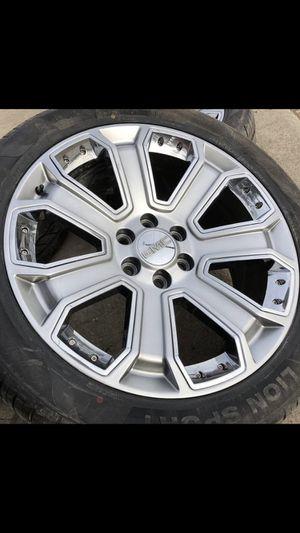 "New 22"" Chrome Honey Comb Rims and Tires 6 Lug Wheels Chevy GMC 22s 22 Rines y llantas Chevrolet Silverado Tahoe Avalanche GMC Sierra Yukon suburban for Sale in Dallas, TX"