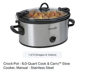 Crock-Pot Cook' N Carry 6-Quart Oval Manual Portable Slow Cooker, Stainless Steel for Sale in Canoga Park, CA