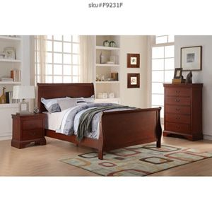 Brand new full or queen wooden bedroom set bed frame chest and 1 nightstand no mattress// Miriams furniture Mon/Sat 11/5 pm 719 *E *9th *Street Hia for Sale in North Miami, FL
