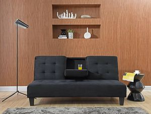 Dacron Fabric Futon Sofa Bed with Drop Down Cup Holder for Sale in Highland, CA