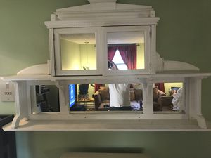 Refinished fireplace mantle/ mirrored cabinet shelf for Sale in Stoneham, MA