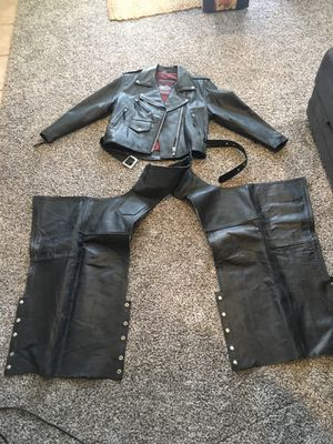 Women's %100 Leather Motorcycle Jacket and Chaps for Sale in Yucaipa, CA
