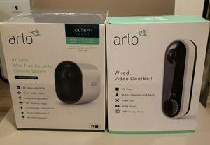Arlo Ultra - 4K UHD Wire-Free Security Camera, Color Night Vision, Spotlight, 2-Way Audio, Indoor/Outdoor   with Arlo Video Doorbell for Sale in Kansas City, MO
