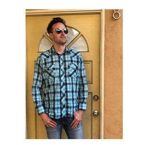 Wrangler plaid western shirt pearl snap for Sale in Long Beach, CA