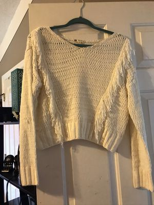 Fringe cream crop sweater for Sale in Orlando, FL