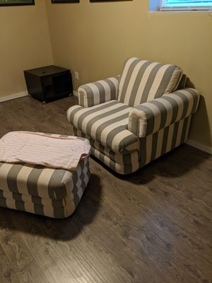 Oversized, comfy chair with ottoman for Sale in Tacoma, WA
