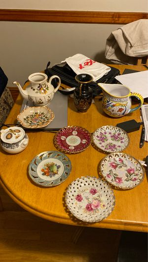 Various lot of antique tear glass holders, tea pot, etc. best price for Sale in Malden, MA