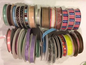Mixed lot of 30 rolls / spools of ribbon - chiffon + gingham check + satin and more for Sale in Tustin, CA