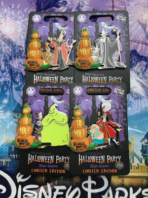 Disney Mickey's Not So Scary Halloween Party 2019 Set Of 4 Villain Pins Jafar, Maleficent, Hook, and Oogie Boogie for Sale in Tamarac, FL