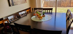 Beautiful kitchen table w 8 chairs and lazy susan for Sale in Lakewood, CO