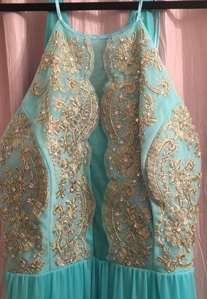 Aqua Marine and gold dress size 17 for Sale in Alexandria, VA