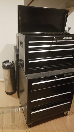Waterloo black tool box combo almost brand new keys included for Sale in Herndon, VA