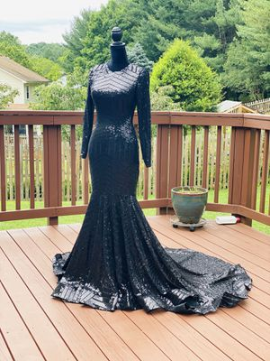 Mermaid sequin rhinestones dress long train open back backless turtleneck prom wedding elegant long sleeve for Sale in MONTGOMRY VLG, MD