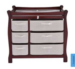 Cherry wood changing table with 6 compartments for Sale in Ontario, CA