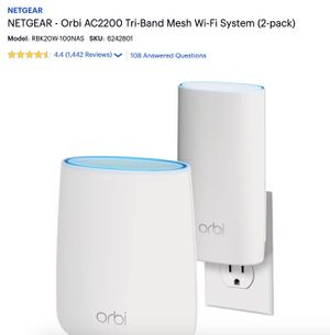 Netgear -Orbi AC2200 Tri-Band Mesh Wi-Fi System AND Arris SURFboard SB6141 DOCSIS 3.0 Cable Modem for Sale in Aurora, IL