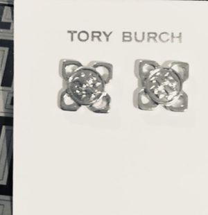 TORY Burch Designer Logo SILVER Stud Earrings Square / Diamond 4 Point Star Geometric Shape for Sale in Macomb, MI