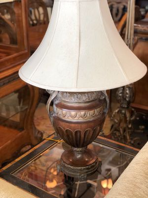 Two beautiful lamps with bronze colored carved base and shades for Sale in Wilton Manors, FL