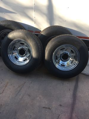 4 brand New tires and wheels for a trailer... Possible delivery for a fee for Sale in Beaumont, CA