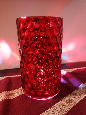 Red Glass Candle Holder or Vase for Sale in Lake Forest, CA