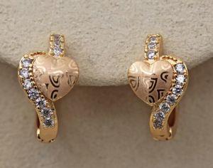 18K Yellow Gold Filled - Laser Carved Heart Topaz Zircon Hoop Cocktail Earrings for Sale in Aldie, VA