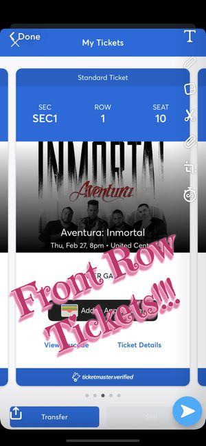 2 Aventura front row tickets for Sale in Evergreen Park, IL