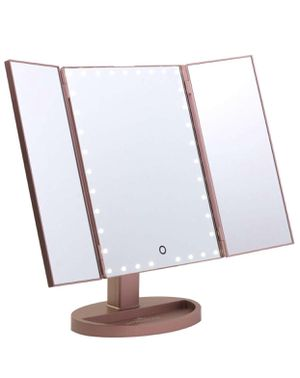 Vanity Rose Gold Makeup Vanity Touch Trifold XL Dimmable LED Makeup Mirror || 35 LED LIGHTS for Sale in Indianapolis, IN