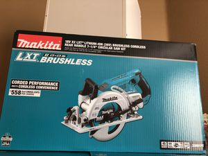 Makita 36v skillsaw kit with two 5.0 batteries, dual fast charger and bag for Sale in Castro Valley, CA