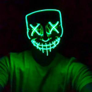 New halloween costume mask cosplay rave party LED glow scary mask costume party red green or blue purge movie dance club for Sale in Covina, CA