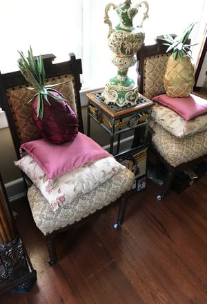 1800s antique Charles Eastlake wood frame chairs with floral fabric started and porcelain wheels at front for Sale in West Palm Beach, FL