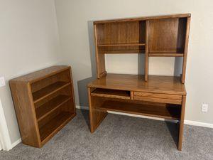 Oak Desk and bookcase set for Sale in Diamond Bar, CA