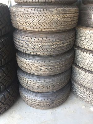 Set of 5 245/75r17 tires mounted on Jeep rims. 5x5 for Sale in Corona, CA