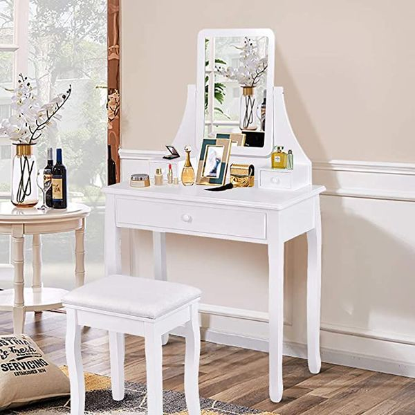 Vanity Set with Square Mirror & Cushioned Stool Dressing Makeup Table, 3 Storage Boxes Home Simple Elegant Furniture (White)