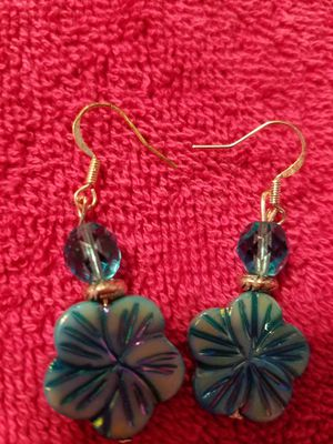 Turquoise flower crystal and silver earrings for Sale in Wyndmoor, PA