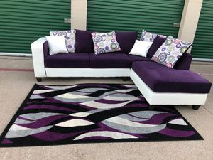 Can deliver - like new purple sectional couch sofa (NO RUG) for Sale in Burleson, TX