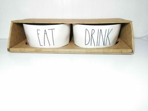 NEW Set Of 2 Magenta Rae Dunn Dog Food Water Bowls Eat & Drink for Sale in Florissant, MO