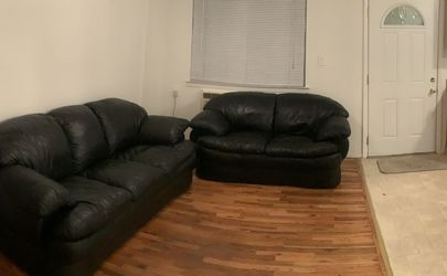 2 Black Leather Couches & Black Table with 4 Matching chairs for Sale in Staten Island,  NY