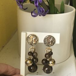 Vintage Made In Italy Faux Roman Coin Gold Tone Brown Beads Drop Clip Earrings for Sale in Plano,  TX