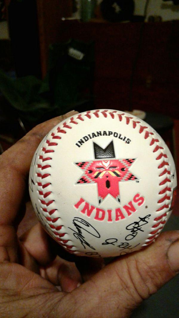 Indians team sign baseball
