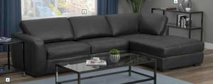 Brand New Black Leatherette Chaise Sectional for Sale in Tracy, CA