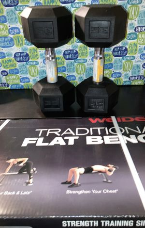 Weights Weider flat bench with a set of 35lb dumbbells for Sale in Covina, CA
