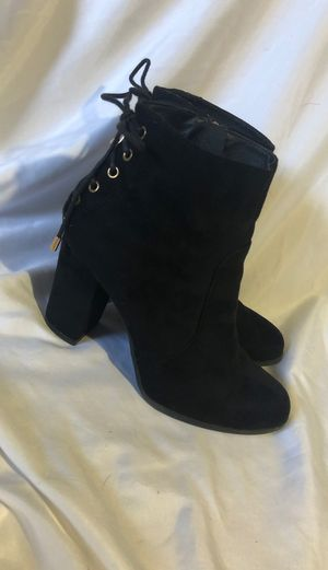 Black soft boot heels w laces on back for Sale in Canby, OR