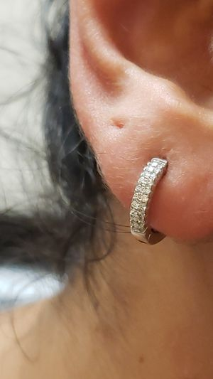 Mini hoop 925 earings with diamond accents for Sale in Annandale, VA