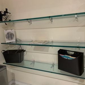 Three (3) Glass Shelves (10 inches X 60 Inches) with Twelve (12) Chrome Shelf Cliffs for Sale in Aventura, FL