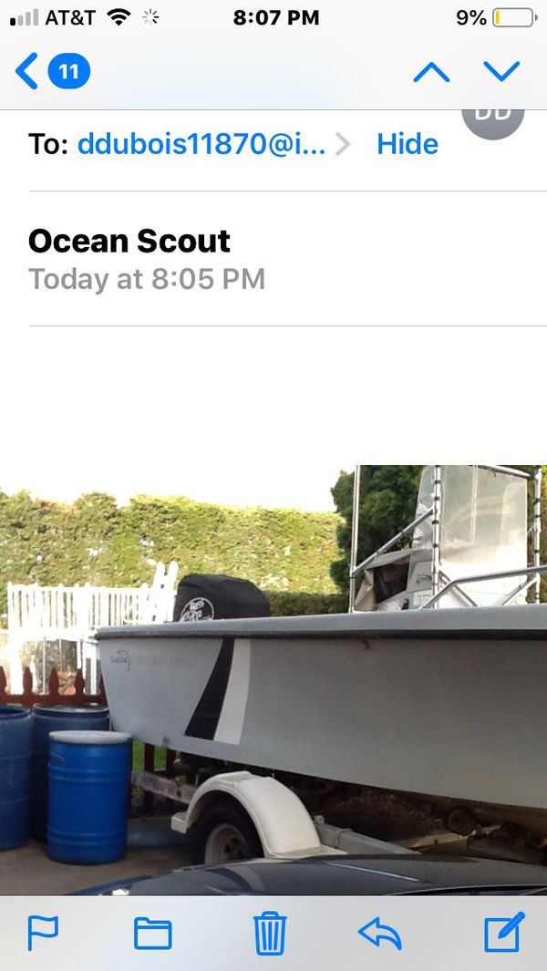 Ocean Scout center console 90 hp mercury low hours on motor