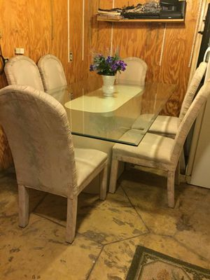 8 Ft. Glass Dining Table & 6 Parsons Chairs for Sale in Merritt Island, FL