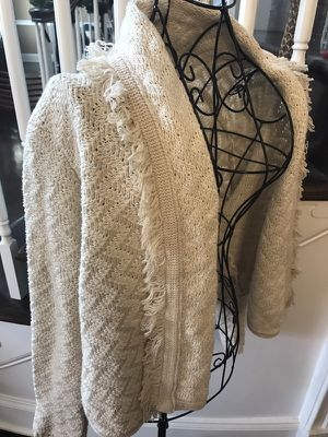 Billabong Women's Beige Fringed Zig Zag Print Cardigan - Size Large for Sale in Apex, NC