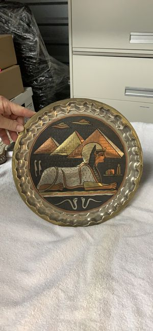 Egyptian Round Metal Wall Plaque for Sale in Alexandria, VA